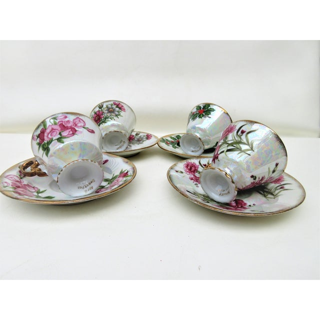 1960s Japanese Lusterware Flower of the Month Demitasse Cups and Saucers - Set of 4 For Sale - Image 4 of 12
