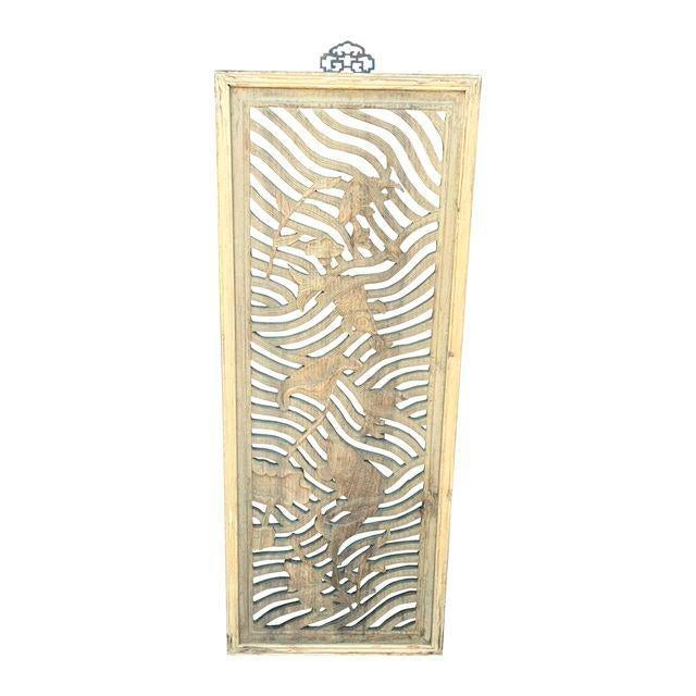 Chinese Carved Camphor Wood Fish and Lotus Panel - Image 2 of 2