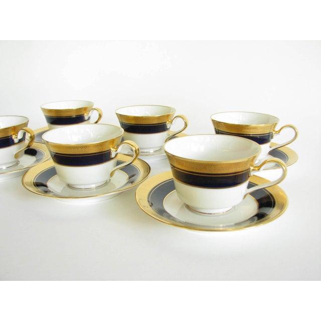 Blue Vintage Noritake Cobalt and Gold Encrusted Band Tea Set - 21 Pieces For Sale - Image 8 of 13