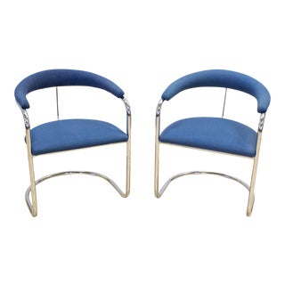 Anton Lorenz Thonet Chrome & Blue Tweed Cantilever Chairs - a Pair For Sale