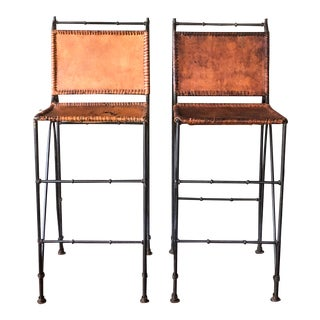 1970s Vintage Iron & Leather Brutalist Bar Stools by Ilana Goor - a Pair For Sale