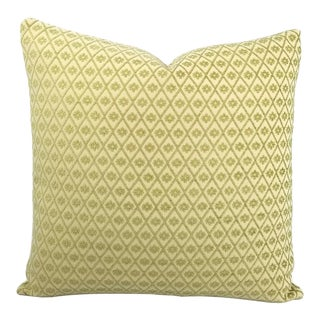 """Kravet Design 31390.3 Pillow Cover - 20"""" X 20"""" Lime Green Diamond Pattern Chenille Accent Cushion Cover For Sale"""