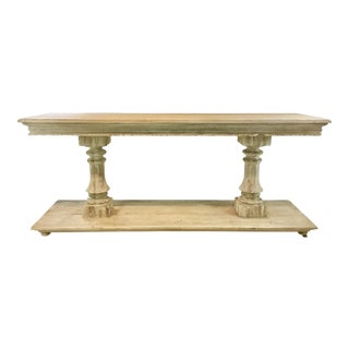 Modern History Transitional Aged White Washed Grand Console Table For Sale