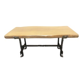 20th Century Industrial Live Edge Coffee Table For Sale