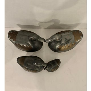 Vintage Pewter Brass Family of Ducks Trinket Boxes - Set of 4 Preview