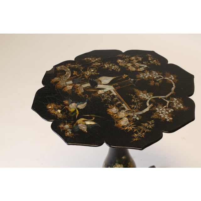 Paper Victorian Papier Mache Side Table For Sale - Image 7 of 9