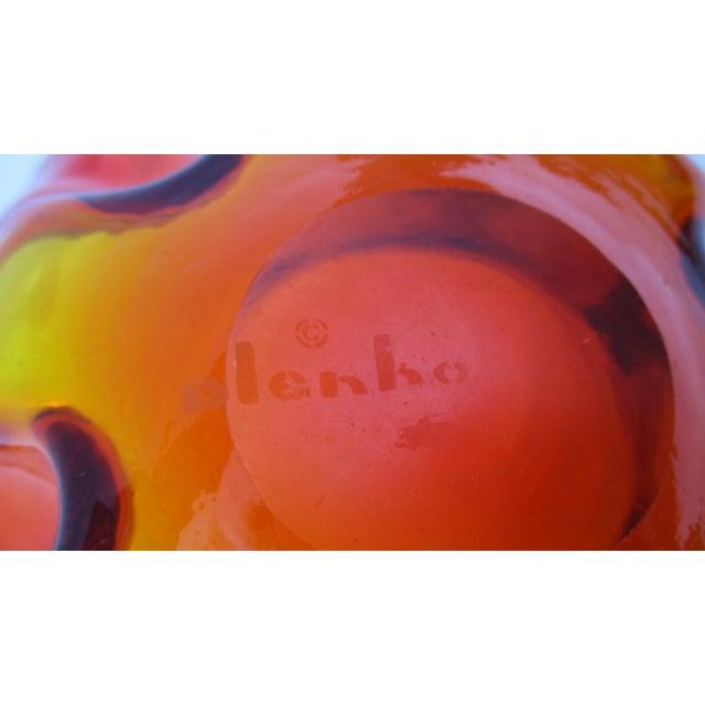 Mid-Century Modern 1960s Orange Blenko Glass Bowl For Sale - Image 10 of 11