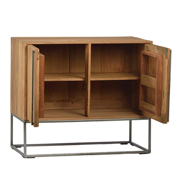 Reclaimed wood and iron side cabinet with beautiful simple modern design. Each varies in exact rustic finish, wood tones,...
