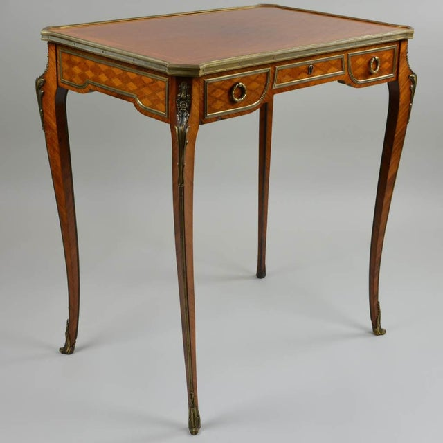 Metal Antique Gilt Bronze Parquetry Inlaid Occasional Table Louis XVI Style For Sale - Image 7 of 7