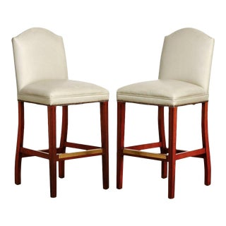 Pair of Oyster Leather High Back Bar Stools For Sale