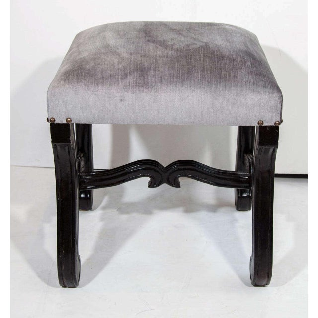French Hollywood Regency Velvet Stool with Carved Wood Base For Sale - Image 3 of 5