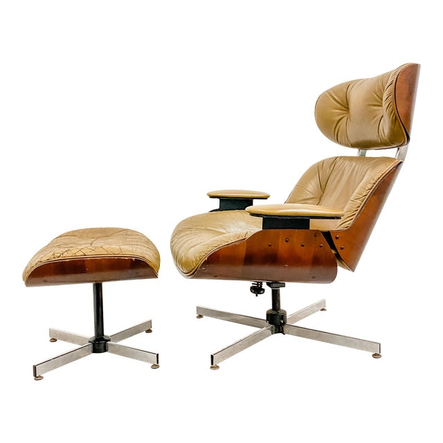 Vintage Plycraft Lounge Chair and Ottoman Set For Sale