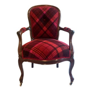 Plaid Cashmere Bergere Chair