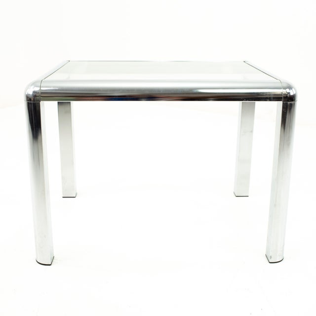 Metal Milo Baughman Style Mid Century Chrome and Glass Side End Table For Sale - Image 7 of 10