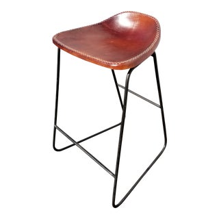 Spanish Style Red Leather Seat Stool Barstool For Sale