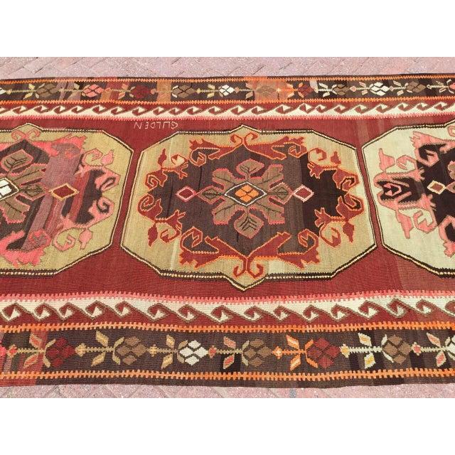 Cottage Vintage Turkish Kilim Rug For Sale - Image 3 of 11