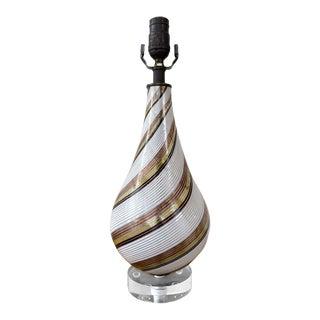 Dino Martens for Aureliano Toso Mezza Filigrana Venetian Glass Table Lamp, 1940s For Sale