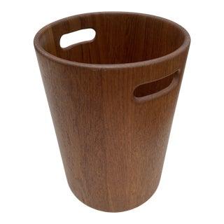 Danish Mid Century Modern Teak Wastebasket For Sale