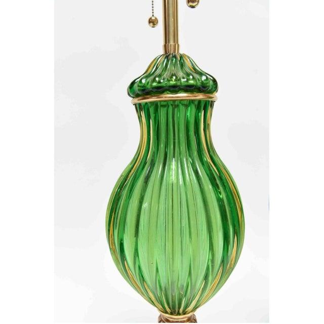 Seguso for Marbro Murano Vintage Green Glass Lamp - Image 3 of 8