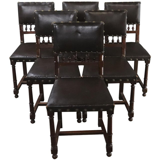 Dining Chairs Henry II Renaissance Walnut Brown - Set of 6 For Sale - Image 10 of 10