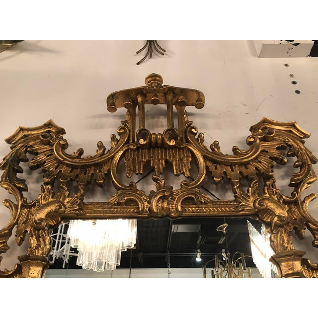 Vintage Chinoiserie Italian Labarge Carved Wood Pagoda Bells Wall Mirror For Sale In West Palm - Image 6 of 13