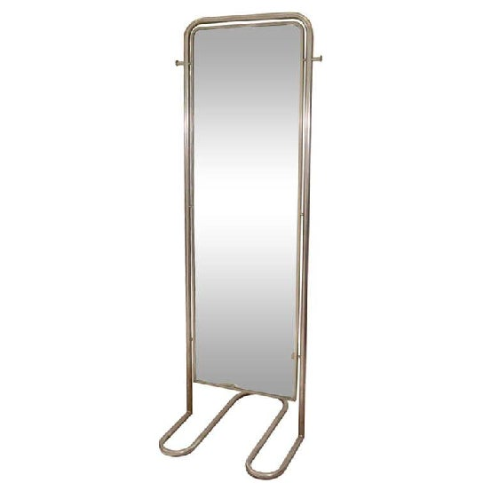 Art deco modernist floor standing double sided mirror with a curving Nickeled Tubular Frame. The piece is by noted French...