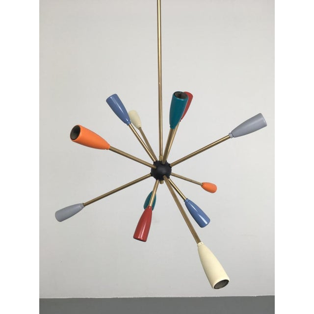 1950s Sputnik Pendant Chandelier Lamp in Different Colors For Sale - Image 4 of 10
