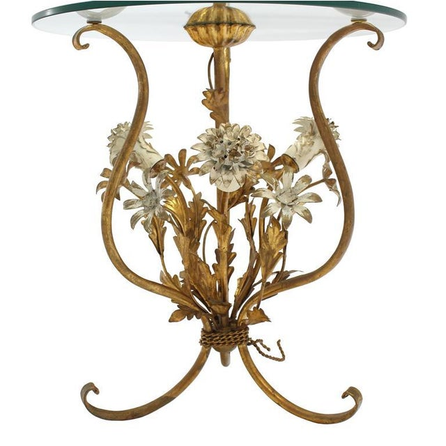 Decorative Gilt Metal Floor Side Table Lamp For Sale - Image 9 of 9