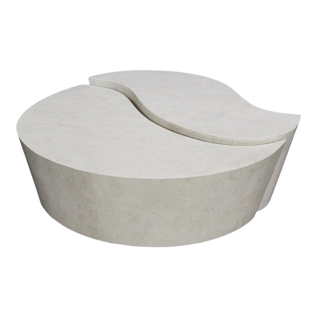 """1990s Contemporary Freeform White Stone Two Part """"Hampton"""" Coffee Table For Sale"""