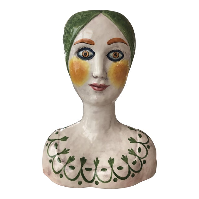 Horchow Italian Head Vase Planter For Sale - Image 9 of 9