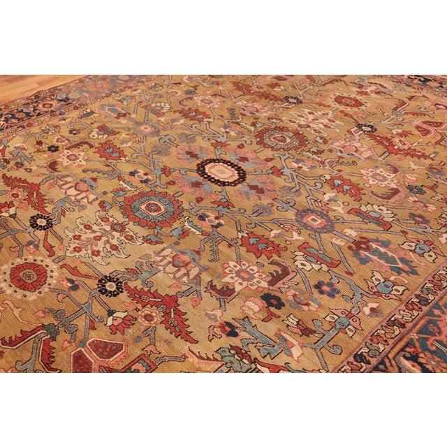Textile Antique Heriz Persian Golden Background Rug - 9′2″ × 10′5″ For Sale - Image 7 of 11