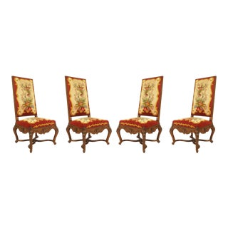 French Regence Red Floral Aubusson Side Chairs - Set of 4 For Sale