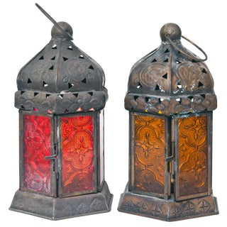 Boho Chic Lantern Candle Holders - a Pair For Sale