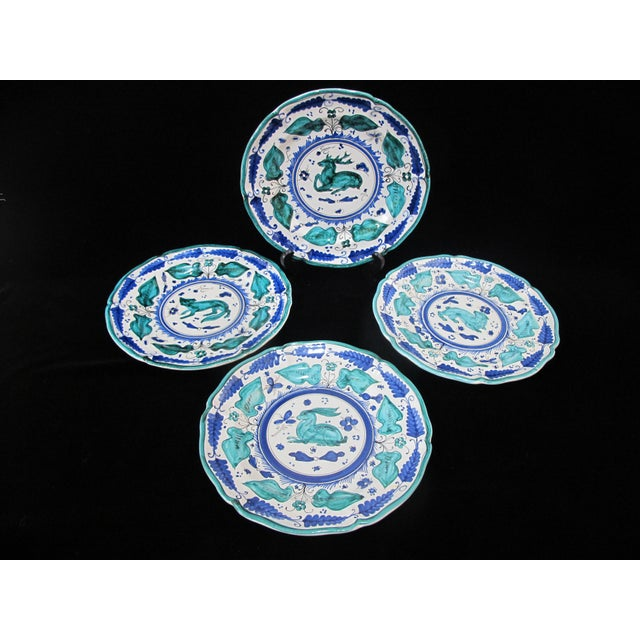 Blue Italian Majolica Assisi Blue Green Animal Flower Leaf Theme Plate Set of 4 For Sale - Image 8 of 8