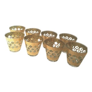 1960s Mid Century Modern Culver Valencia Green and Gold Flaired Rocks Glasses - Set of 8