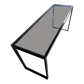 1980s Minimalist Dia Industrial Glass & Steel Console For Sale