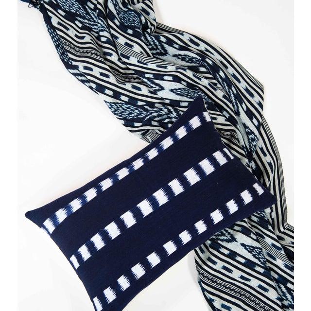 Guatemalan Striped Indigo Handwoven Pillow - Image 3 of 7