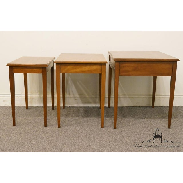 Heritage Solid Ash Italian Neoclassical Nesting End Tables - Set of 3 For Sale - Image 9 of 12