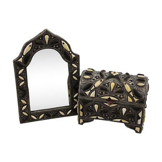 Handmade Moroccan Mirror & Chest with Bone Inlay For Sale