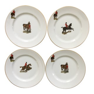 """The Hunt"" Porcelain Equestrian Plates by Woodmere China - Set of 4 For Sale"