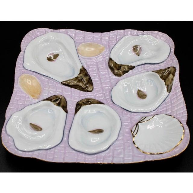 Coastal 1960s Lavender Blush Oyster Plate For Sale - Image 3 of 10