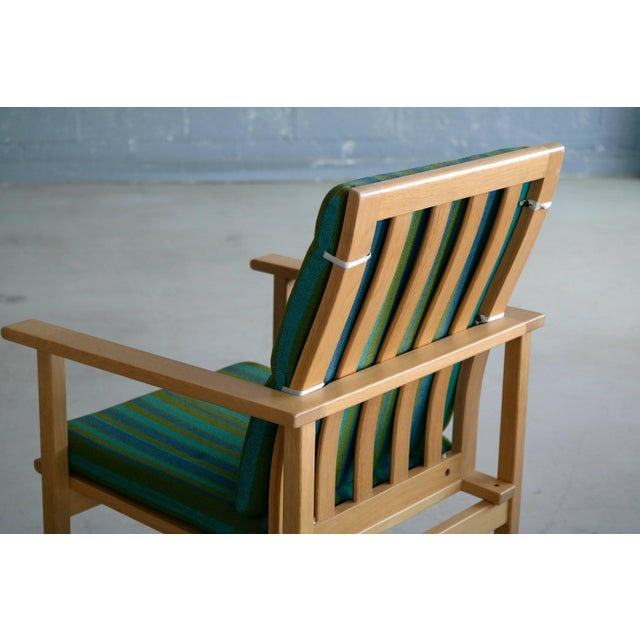 Green 1960s Børge Mogensen Model 2257 Oak Lounge Chair for Fredericia Stolefabrik For Sale - Image 8 of 10
