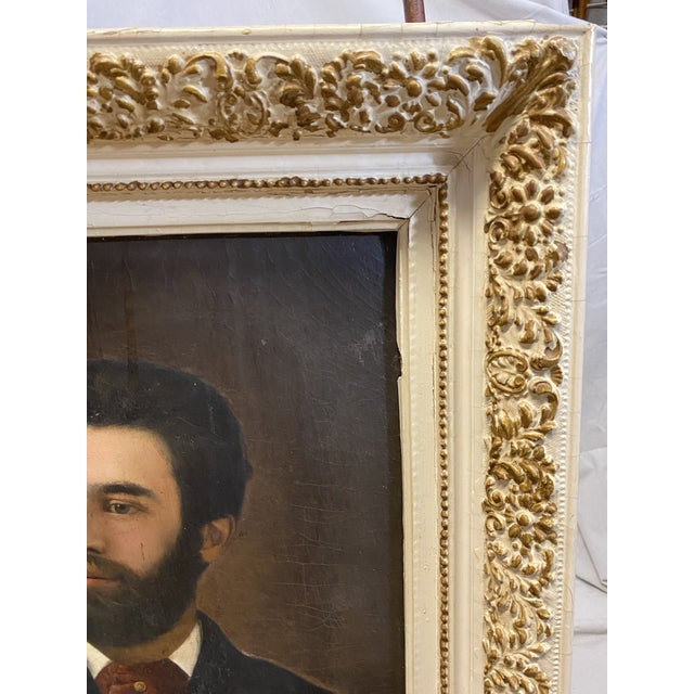 Antique 19th C. Oil on Canvas Portrait of a Handsome Bearded Man White Gilt Gold Frame For Sale - Image 4 of 11