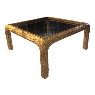 Vintage Mid-Century Twisted Pencil Reed and Rattan Coffee Table. For Sale
