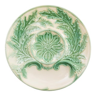 French Gien Majolica Artichoke Plates, 6 Available For Sale