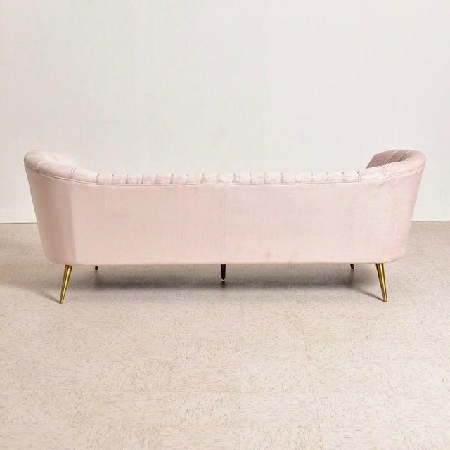 "Modern ""Gwen"" Pink Velvet Sofa For Sale In Los Angeles - Image 6 of 9"