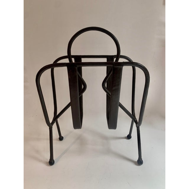 Jacques Adnet Leather Magazine Rack For Sale - Image 11 of 11