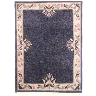 RugsinDallas Hand Knotted Wool Indian Rug - 5′5″ × 7′4″ For Sale