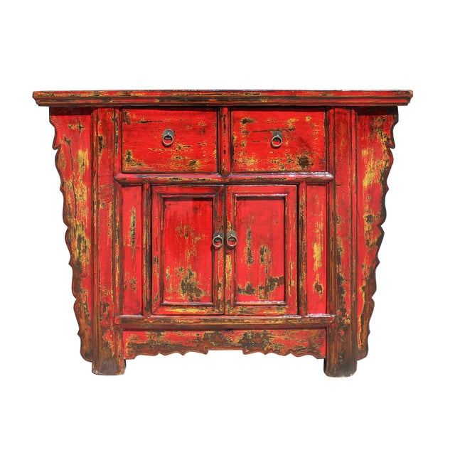 This is an old used altar side table cabinet made of rustic raw wood in oriental simple style. The structure is fine. It...