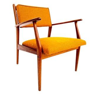 1960s Vintage Jens Risom Style Swedish Modern Teak Upholstered Lounge Chair For Sale